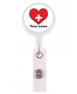 Ausweis-Jojo Red Heart mit Namensaufdruck
