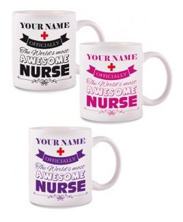 Tasse Awesome Nurse mit Namensaufdruck